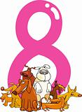 number eight and 8 dogs