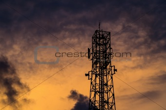 sillouette communications Tower and sky