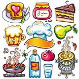 Set of ready-to-eat food icons part 4