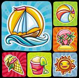 Set of 6 summer and beach icons