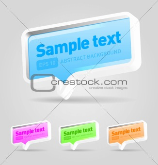 Set of Coloured vector speech bubbles with sample text