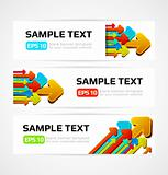 set of three banners with 3d arrows illustration