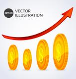Abstract illustration of Finance Growth with gold coins