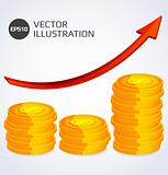 Abstract illustration of Finance Growth with stack of gold coins