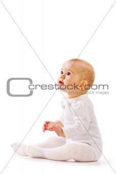 Baby  on white background in studio