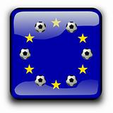 Button flag of Europe with soccer balls