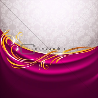 Pink fabric curtain, gold vignette