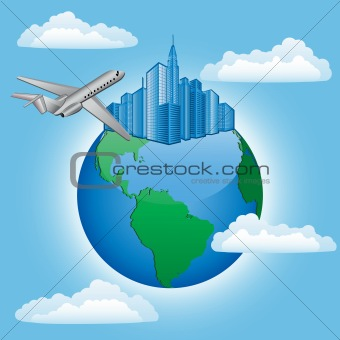 Background with plane and earth. Travel concept. Vector illustration.