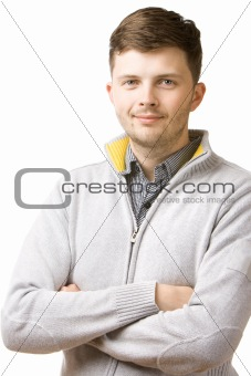 Portrait of a young man isolated over white background