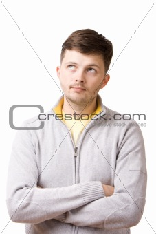 Portrait of a young man thinking about something