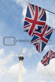 British Union flags in Trafalgar Square.