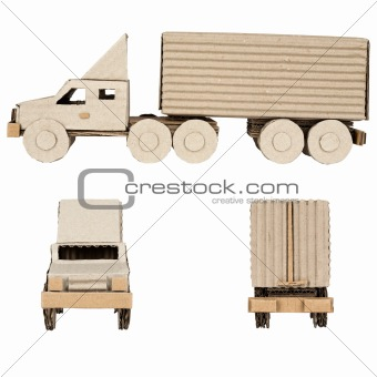 truck made of corrugated cardboard