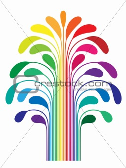 abstract simple stylized tree rainbow color isolated