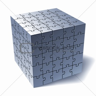 Jigsaw puzzle cube. All Parts Together
