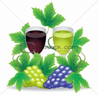 glasses of red and white wine grapes on the background branches