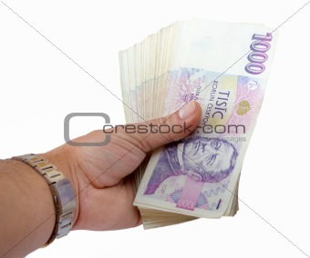 czech banknotes nominal value one thousand crowns in hand