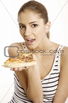 Young beautiful woman eat pizza