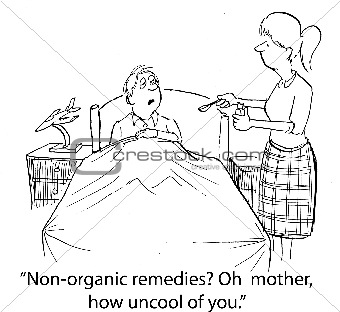 Mother Treating Ill Son with Non-Organic Medication