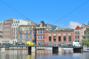 Amsterdam. Embankment of the River Amstel