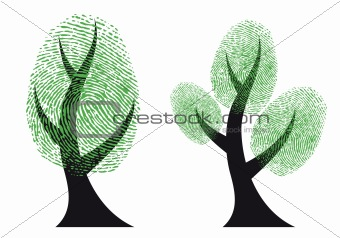green fingerprint tree, vector