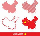 Map of China in dashed line graphics, vector illustration
