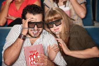 Scared Couple With 3D Glasses