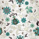 Seamless pattern of colored retro flowers