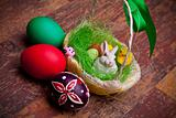 Photo: Easter Basket And Colored Eggs