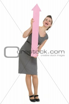 Happy business woman with big arrow pointing up isolated