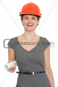 Portrait of happy architect woman isolated