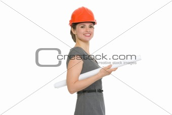 Portrait of smiling architect woman with flipchart isolated