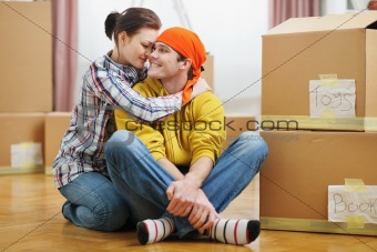 Portrait of young loving couple moving