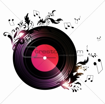 vinyl record with floral music decoration