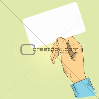 Hand with the business card