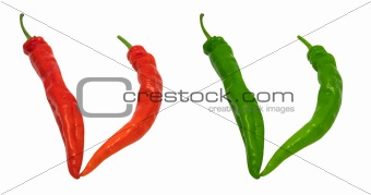 Letter V composed of green and red chili peppers