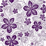 Seamless white-violet floral pattern