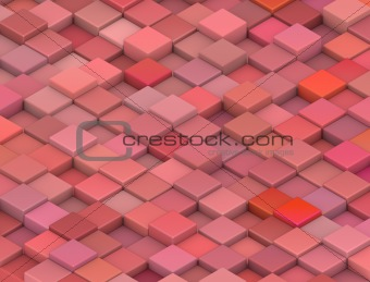 abstract 3d gradient backdrop cubes in tangerine red