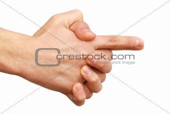 Hands gun sign