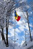Romanian flag on top of the Tampa mountain