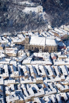 Aerial view of the Black Church, Brasov