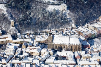 Aerial view of the Black Church, Brasov