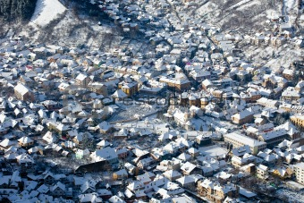 Aerial old city view, Brasov