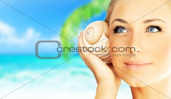 Beautiful woman enjoying beach