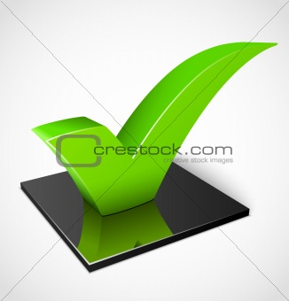3d green check mark symbol. Vector illustration