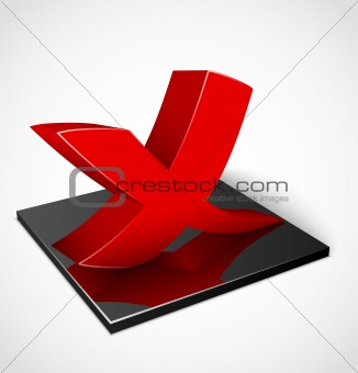 3d red check mark symbol. Vector illustration