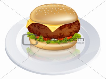 Beefburger or cheeseburger illustration