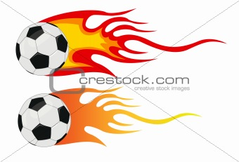 vector soccer ball with flames