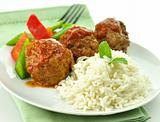 meat balls with rice and vegetables
