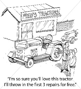 Salesman Trying to Sell Tractor to Farmer