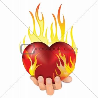 Heart in fire